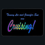 "Multicolor Cruising on Black Stateroom Door Marker Magnet<br><div class=""desc"">Customize this magnet to mark your cabin door on your next cruise, then keep it for a fun souvenir afterwards. Cruise Ships keep getting bigger and bigger. The hallways have longer and longer rows of cabin doors that all look alike! Mark YOUR stateroom door with a Staterooom Door Marker, and...</div>"