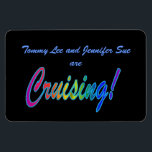 """Multicolor Cruising on Black Stateroom Door Marker Magnet<br><div class=""""desc"""">Customize this magnet to mark your cabin door on your next cruise, then keep it for a fun souvenir afterwards. Cruise Ships keep getting bigger and bigger. The hallways have longer and longer rows of cabin doors that all look alike! Mark YOUR stateroom door with a Staterooom Door Marker, and...</div>"""