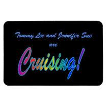 Multicolor Cruising on Black Stateroom Door Marker Magnet