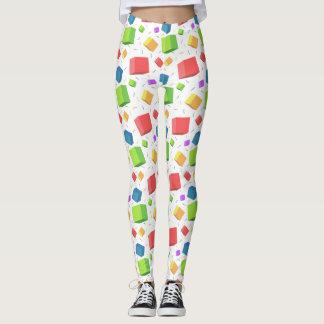 Multicolor cubes pattern leggings