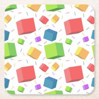 Multicolor cubes square paper coaster