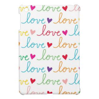 Multicolor Cursive Love Hearts iPad Mini Case