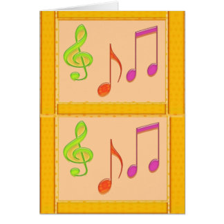 Multicolor Dancing Music Symbols Greeting Card