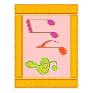 Multicolor Dancing Music Symbols Postcard