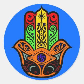 Multicolor de HAMSA Pegatinas Redondas