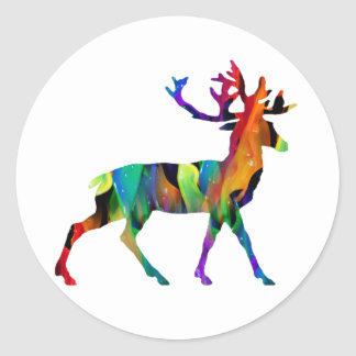 MULTICOLOR DEER PRODUCTS CLASSIC ROUND STICKER