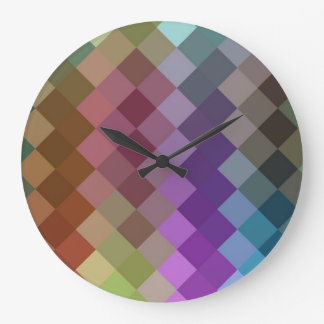 Multicolor Diamond Seamless Pattern 3 Large Clock