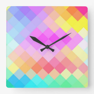 Multicolor Diamond Seamless Pattern Square Wall Clock