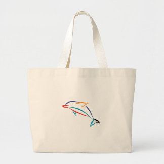 Multicolor Dolphin Large Tote Bag