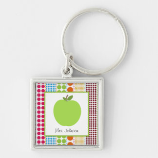 Multicolor Dots Green Apple Personalized Teacher Keychain