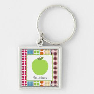 Multicolor Dots Green Apple Personalized Teacher Silver-Colored Square Keychain