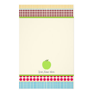 Multicolor Dots Green Apple Personalized Teacher Stationery