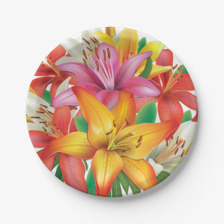 Multicolor Easter Lilies Paper Plate