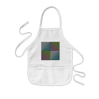 Multicolor embossed square pattern purple green apron