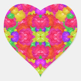 Multicolor Floral Check Heart Sticker