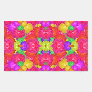 Multicolor Floral Check Rectangular Sticker