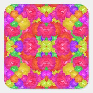 Multicolor Floral Check Square Sticker