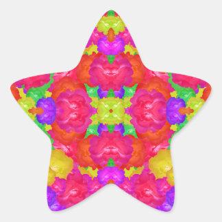 Multicolor Floral Check Star Sticker