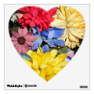 MULTICOLOR FLORAL HEART SHAPED WALL DECAL