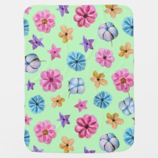 Multicolor Flowers on a Light Green Background Baby Blanket