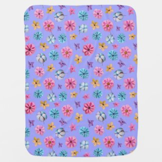 Multicolor Flowers on a Light purple Background Baby Blanket