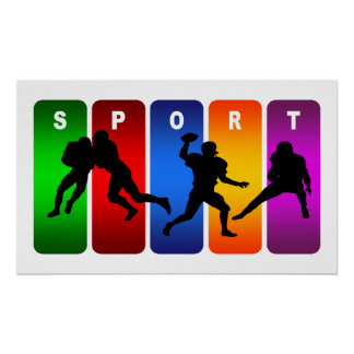 Multicolor Football Emblem Poster