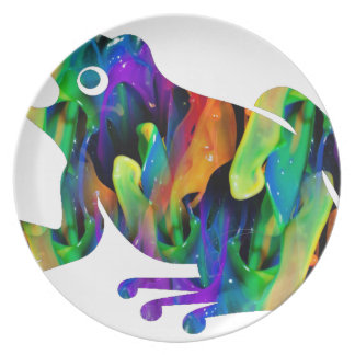 MULTICOLOR FROG PRODUCTS DINNER PLATE