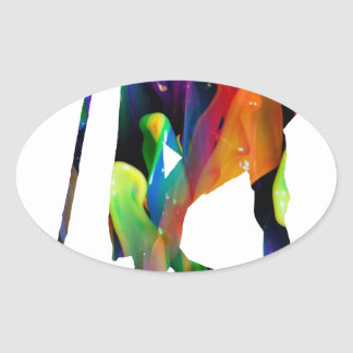 MULTICOLOR GANDHI PRODUCTS OVAL STICKER