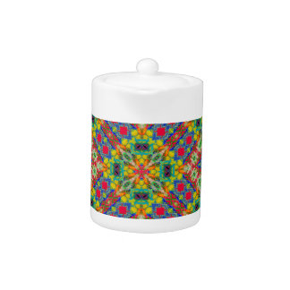 Multicolor Geometric Ethnic Seamless Pattern Teapot