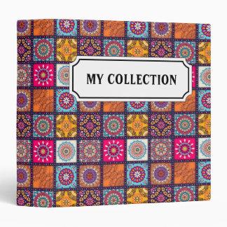 Multicolor geometric floral mandala tiled pattern binder