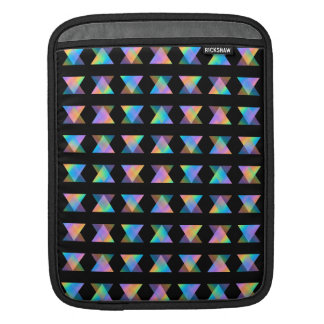 Multicolor Geometric Pattern on Black. Sleeve For iPads