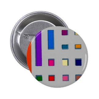 Multicolor geométrico pin redondo de 2 pulgadas