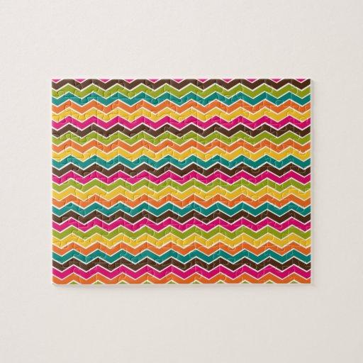 Multicolor girly chevron jigsaw puzzle
