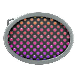 Multicolor Glowing Dots Oval Belt Buckles