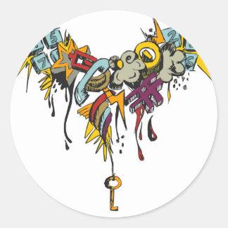 Multicolor grunge grafitti design. classic round sticker