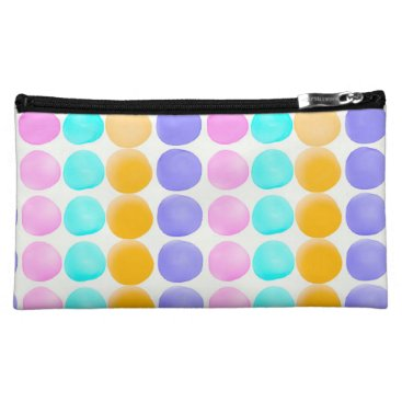 Beach Themed Multicolor hand painted watercolor dots cosmetic bag