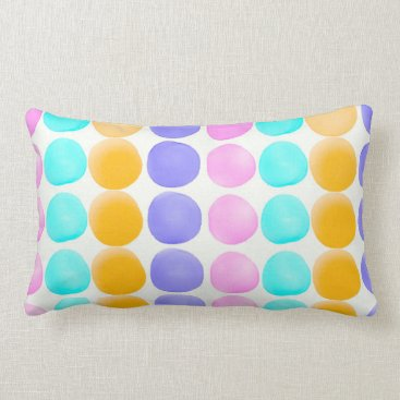 Beach Themed Multicolor hand painted watercolor dots lumbar pillow