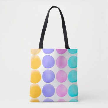 Beach Themed Multicolor hand painted watercolor dots tote bag