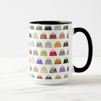 Multicolor Handbag Pattern Coffee Mug