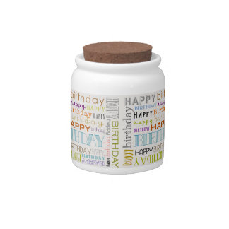 Multicolor Happy Birthday Text Candy Jar