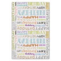 Multicolor Happy Birthday Typography Tissue Paper