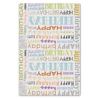 "Multicolor Happy Birthday Typography Tissue Paper 10"" X 15"" Tissue Paper"