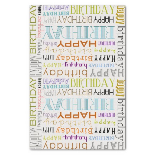 "Multicolor Happy Birthday Typography Tissue Paper 10"" X 15"" Tissue Paper"