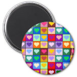 Multicolor Heart Squares 2 Inch Round Magnet