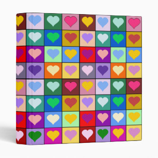 Multicolor Heart Squares Binder