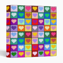 Multicolor Heart Squares Binders