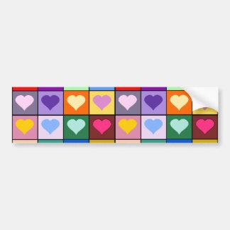 Multicolor Heart Squares Bumper Stickers