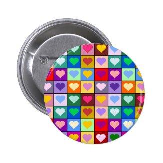 Multicolor Heart Squares Buttons