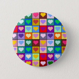 Multicolor Heart Squares Pinback Button