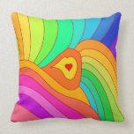 Multicolor heart throw pillow